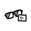 メガネ拭きの白黒シルエットイラスト