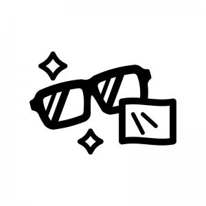 メガネを拭いてピカピカの白黒シルエットイラスト