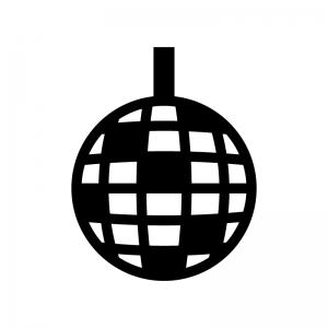 ミラーボールの白黒シルエットイラスト