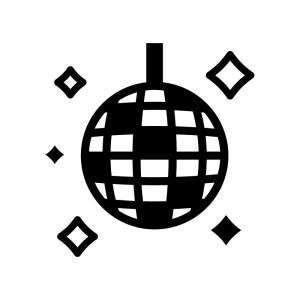 ミラーボールの白黒シルエットイラスト02