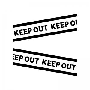 KEEP OUT・立ち入り禁止の白黒シルエットイラスト