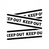 KEEP OUT・立ち入り禁止の白黒シルエットイラスト02