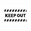 KEEP OUT・立ち入り禁止の白黒シルエットイラスト03