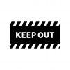 KEEP OUT・立ち入り禁止の白黒シルエットイラスト04