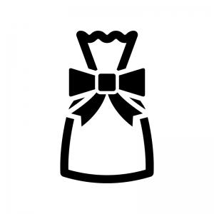 プレゼント袋の白黒シルエットイラスト