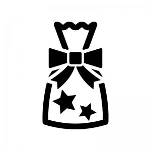プレゼント袋の白黒シルエットイラスト02