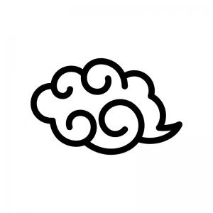 筋斗雲の白黒シルエットイラスト