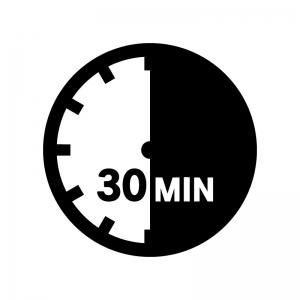 30分間の白黒シルエットイラスト