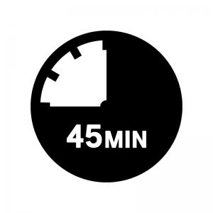 45分間の白黒シルエットイラスト