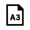 A3の用紙・書類の白黒シルエットイラスト