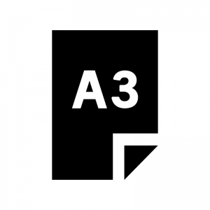 A3の用紙・書類の白黒シルエットイラスト02