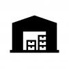 倉庫の白黒シルエットイラスト