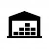 倉庫の白黒シルエットイラスト02