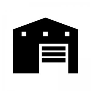 倉庫の白黒シルエットイラスト03