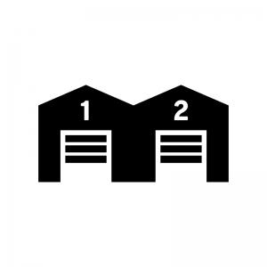倉庫の白黒シルエットイラスト04