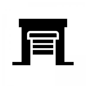 倉庫の白黒シルエットイラスト05