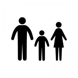 ファミリー・家族の白黒シルエットイラスト