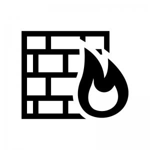 ファイアウォールの白黒シルエットイラスト02