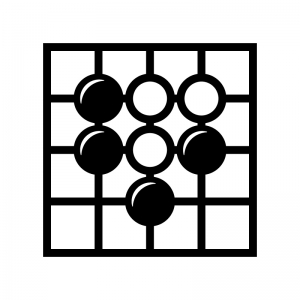 囲碁の白黒シルエットイラスト