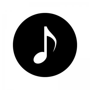 8分音符の白黒シルエットイラスト02