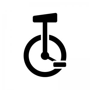 一輪車の白黒シルエットイラスト