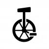 一輪車の白黒シルエットイラスト02