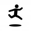 ジャンプする人の白黒シルエットイラスト