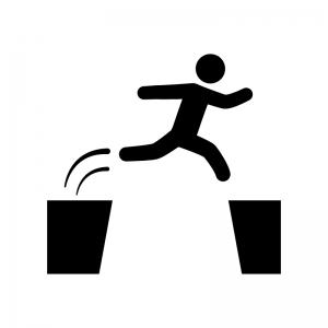 ジャンプする人の白黒シルエットイラスト02