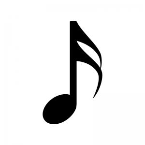 16分音符の白黒シルエットイラスト