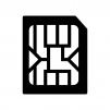 microSIMカードの白黒シルエットイラスト