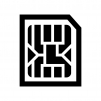 microSIMカードの白黒シルエットイラスト02