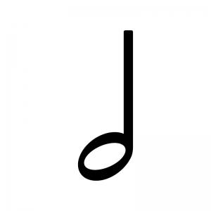 2分音符の白黒シルエットイラスト