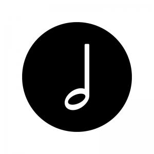 2分音符の白黒シルエットイラスト02