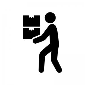 荷物を運ぶ人の白黒シルエットイラスト