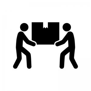 二人で荷物を運ぶ白黒シルエットイラスト