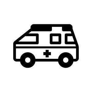 救急車の白黒シルエットイラスト