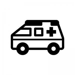 救急車の白黒シルエットイラスト02