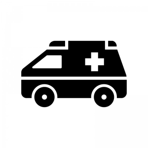 救急車の白黒シルエットイラスト03