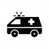 救急車の白黒シルエットイラスト04