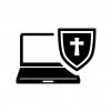 ウイルス保護されたノートパソコンの白黒シルエットイラスト02