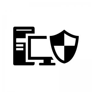 ウイルス保護されたパソコンの白黒シルエットイラスト