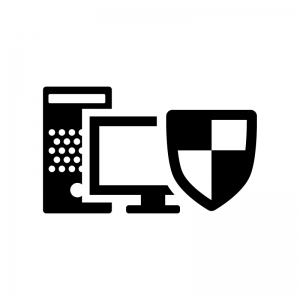 ウイルス保護されたパソコンの白黒シルエットイラスト02
