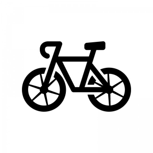 ロードバイクの白黒シルエットイラスト02