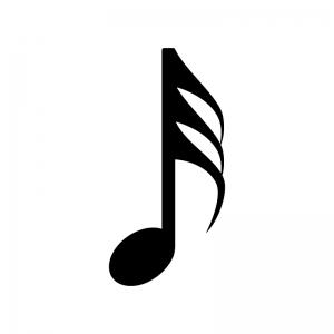 32分音符の白黒シルエットイラスト