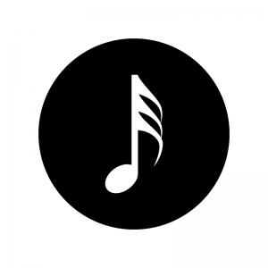 32分音符の白黒シルエットイラスト02