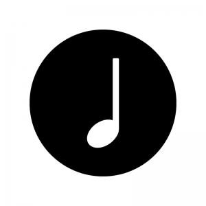 4分音符の白黒シルエットイラスト02