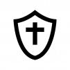 盾・シールドの白黒シルエットイラスト