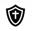 盾・シールドの白黒シルエットイラスト02