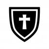 盾・シールドの白黒シルエットイラスト03