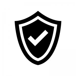 盾とチェックマークの白黒シルエットイラスト